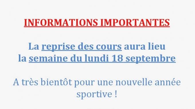 Reprise des activités la semaines du lundi 18 septembre 2017